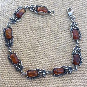Vintage Baltic Amber Sterling Bracelet Boho
